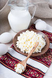 Milk and fresh eggs Stock Images