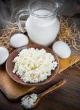 Milk and fresh eggs Stock Image