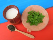Milk with fresh mint and dried mint with red and blue background stock photography