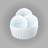 Milk frozen yogurt or soft three white balls ice cream, vanilla in blank paper cup isolated on transparent background vector. Art vector illustration
