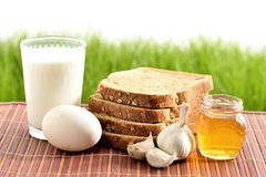 Milk, garlic, honey and egg with bread Royalty Free Stock Image