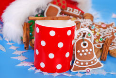 Milk and  gingerbread cookies for santa Stock Photography