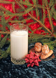 Milk and gingerbread for Santa Stock Images