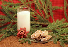 Milk and gingerbread for Santa Royalty Free Stock Image