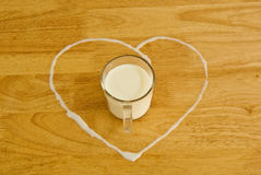 Milk in glass. On table Royalty Free Stock Photography