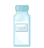 Milk in a glass bottle icon flat style. Isolated on white background. Vector illustration. Royalty Free Stock Photos