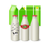Milk in glass bottles and packages. Vector Illustration. Milk in glass bottles and packages Stock Image