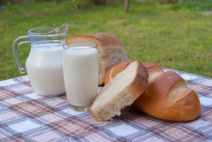 Milk in glass and bread Royalty Free Stock Photography