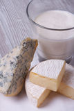 Milk in a glass, brie and blue cheese close up Royalty Free Stock Images