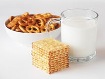 Milk. A glass of milk with cookies Stock Photography