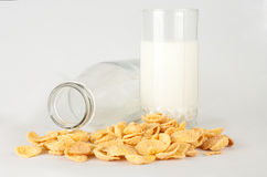 Milk in a glass and cornflakes Stock Image