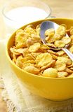 Milk in a glass cup and corn flakes Stock Photography