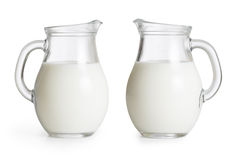 Milk glass jugs set . Clipping path included Stock Photo