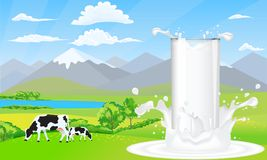 Milk glass on milk splash. Beautiful nature landscape mountain and meadow fields with cows. Illustrated vector Royalty Free Stock Photos