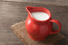 Milk in glass pitcher Stock Photography
