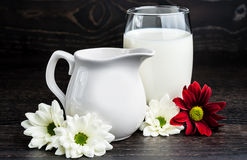 Milk in a glass on the table Stock Photo