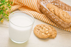 Milk glass and white chocolate chip cookie Royalty Free Stock Photography