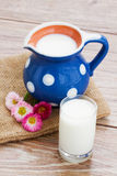 Milk in glass  on wooden table Stock Image