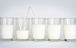 Milk glasses on a white background. Five glasses on a white background with milk Royalty Free Stock Photography