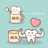 Milk is good for tooth Royalty Free Stock Photography