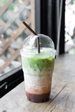Milk green tea smoothie in plastic cup Stock Photography