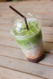 Milk green tea smoothie in plastic cup Stock Images