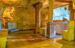 The Milk Grotto chapel. BETHLEHEM, ISRAEL - FEBRUARY 18, 2016: The small chapel located inside the Milk Grotto, on February 18 in Bethlehem Stock Photos
