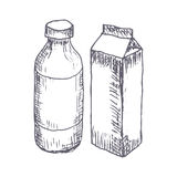 Milk hand drawn vector illustration Royalty Free Stock Images