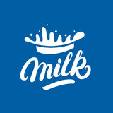 Milk hand written lettering logo, label or badge. Stock Photo