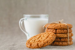 Milk with home made cookies Stock Photo