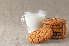 Milk with home made cookies Royalty Free Stock Images