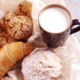 Milk and homemade pastries Royalty Free Stock Photography
