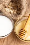 Milk and honey Stock Photo