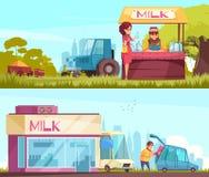 Milk Horizontal Banners Set vector illustration