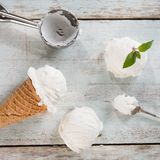 Milk ice cream wafer cone top view Stock Photos