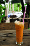 Milk Ice Tea. Thai Traditional Milk Ice Tea in the restaurant stock photos