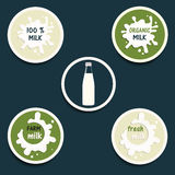 Milk icon set vector Royalty Free Stock Image