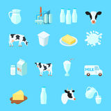 Milk Icons Flat Stock Photo