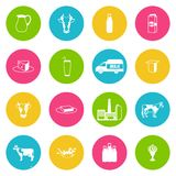 Milk icons set Stock Images