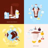 Milk icons set flat Royalty Free Stock Photos
