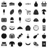 Milk icons set, simple style. Milk icons set. Simple style of 36 milk vector icons for web isolated on white background Royalty Free Stock Image