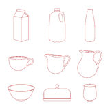 Milk icons set. Stock Photography
