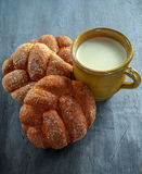 Milk In Vintage Clay Mug And Rustic Home Made Bread On Linen Serviette Royalty Free Stock Image