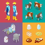 Milk Industry Production. Man with Bottle of Milk, Cow and Cheese. Dairy Product. Isometric flat 3d illustration Royalty Free Stock Images