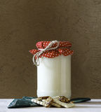 Milk jar and biscuits Royalty Free Stock Images