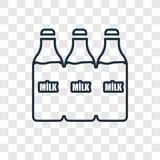 Milk jar concept vector linear icon isolated on transparent back vector illustration