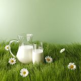Milk in jar and glass on flower meadow Stock Images