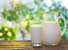Milk in jar and glass. Stock Images