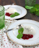 Milk jello with with cranberry sauce. And mint Royalty Free Stock Image