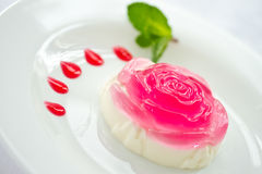 Milk jelly in a rose Royalty Free Stock Images